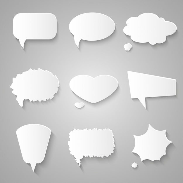 Satz papierspracheblasen mit schatten Premium Vektoren