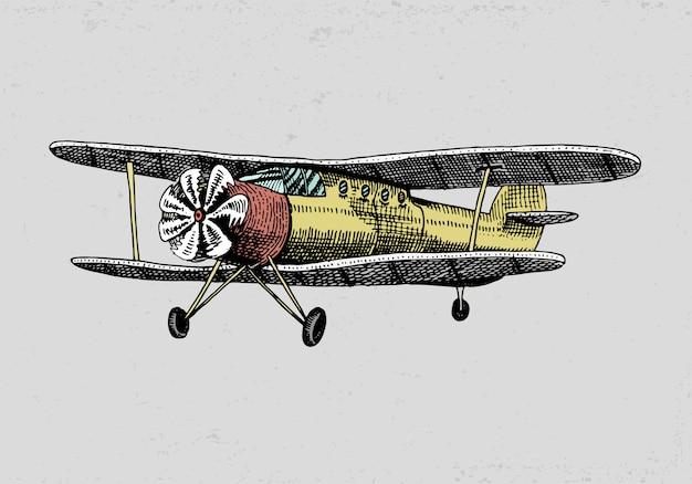 Satz passagierflugzeuge maiskolben oder flugzeugluftfahrtreiseillustration. gravierte hand gezeichnet im alten skizzenstil, vintage transport. Premium Vektoren