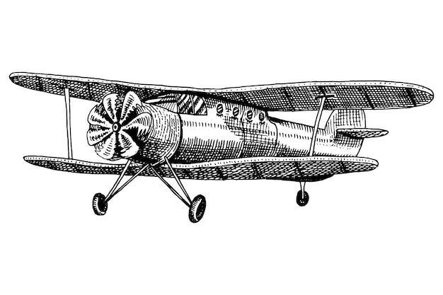 Satz passagierflugzeuge maiskolben oder flugzeugluftfahrtreiseillustration. gravierte hand gezeichnet im alten skizzenstil, weinlesetransport. Premium Vektoren