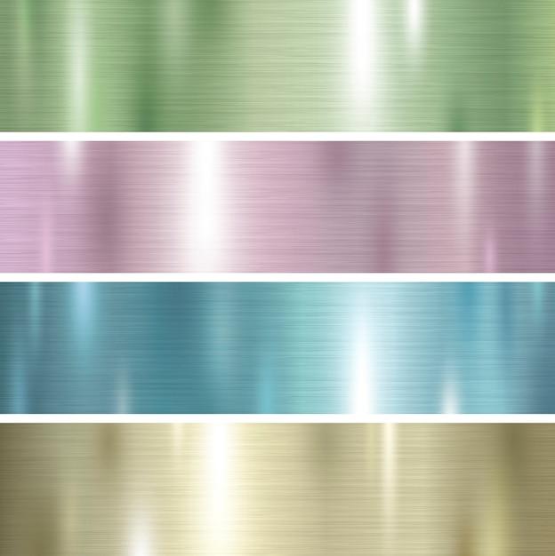 Satz pastellfarbmetallbeschaffenheitshintergrund Premium Vektoren