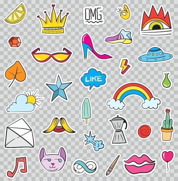 Satz patches elemente wie blume, herz, krone, wolke, lippen, post, diamant, augen. handgemalt . nette modische aufkleber-sammlung. doodle pop art skizze abzeichen und anstecknadeln. Premium Vektoren
