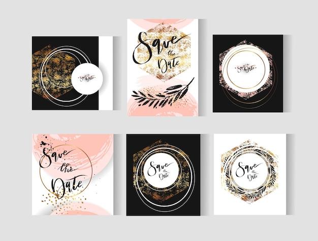 Satz perfekte hochzeit abstrakte vorlagenkarten mit goldenen, pastellfarbenen, schwarzen und weißen farben. Premium Vektoren