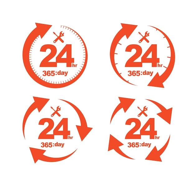 Satz pfeil-kreis-service 24hr 365 tagesikone Premium Vektoren