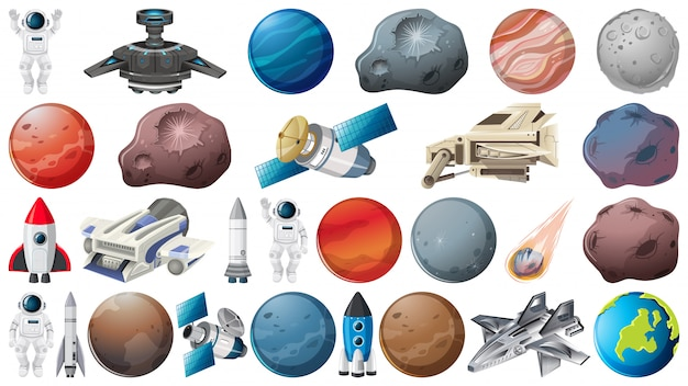 Satz planeten und raumelemente Kostenlosen Vektoren