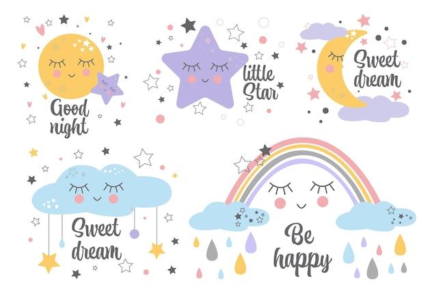 Satz poster gelbe schläfrige mondrosa sternwolke für babyzimmerdekoration kinderwandkunstdesign. Premium Vektoren