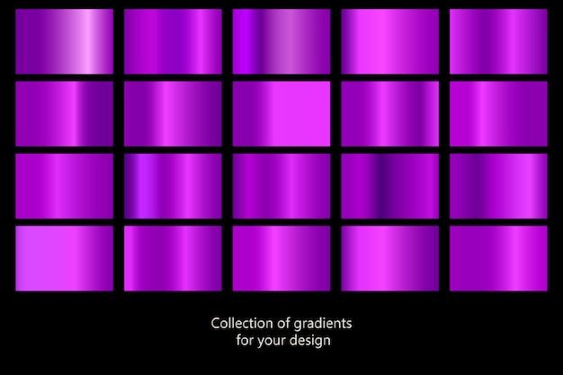 Satz purpurrote metallische beschaffenheiten Premium Vektoren