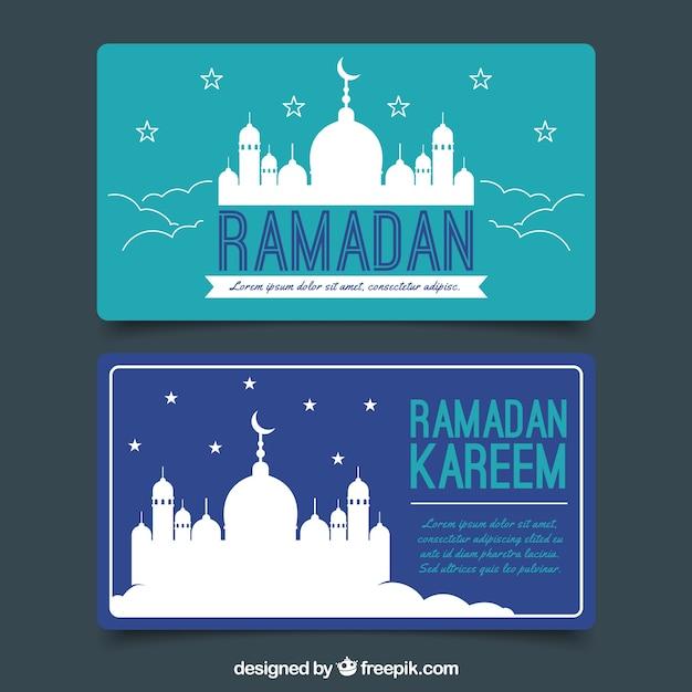 satz ramadanfahnen mit moscheenschattenbild  kostenlose