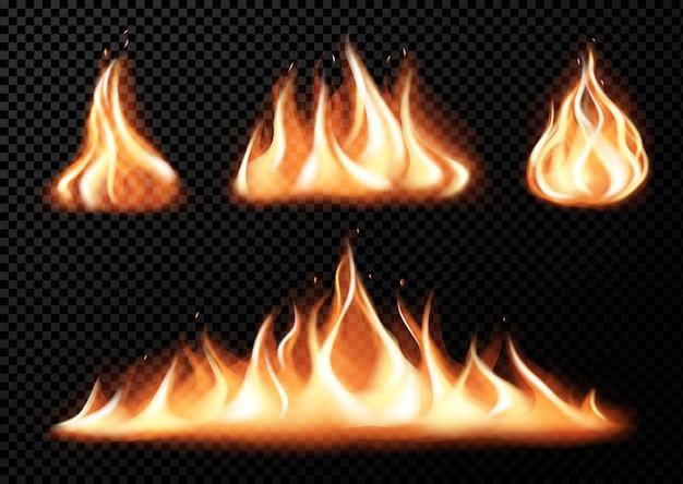 Satz realistische feuerflammen der verschiedenen größe mit funken auf schwarzem transparentem hintergrund lokalisierte vektorillustration Premium Vektoren