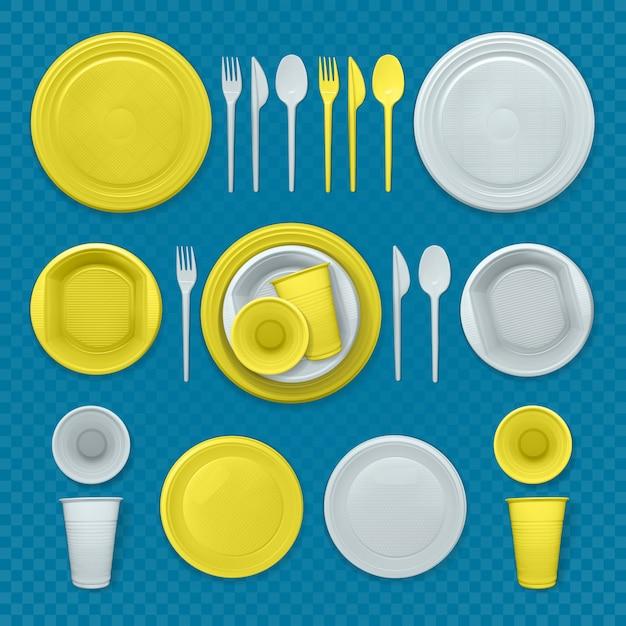 Satz realistische gelbe und weiße plastikschalen Premium Vektoren