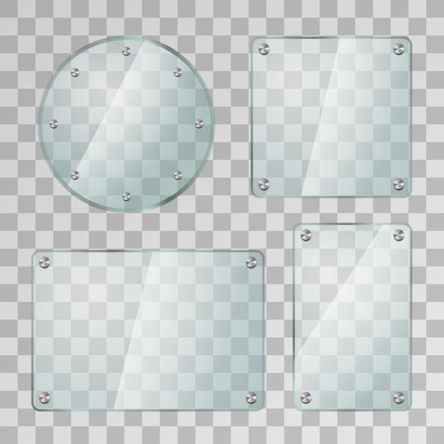 Satz realistische glänzende glasplatten in verschiedenen formen mit metallschrauben auf transparentem hintergrund Premium Vektoren