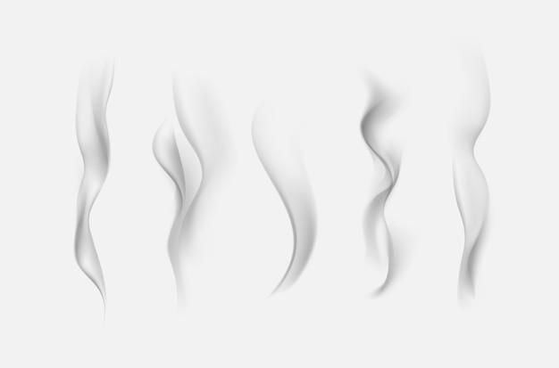 Satz realistische graue transparente zigarettenrauchwellen lokalisiert auf weiß Premium Vektoren
