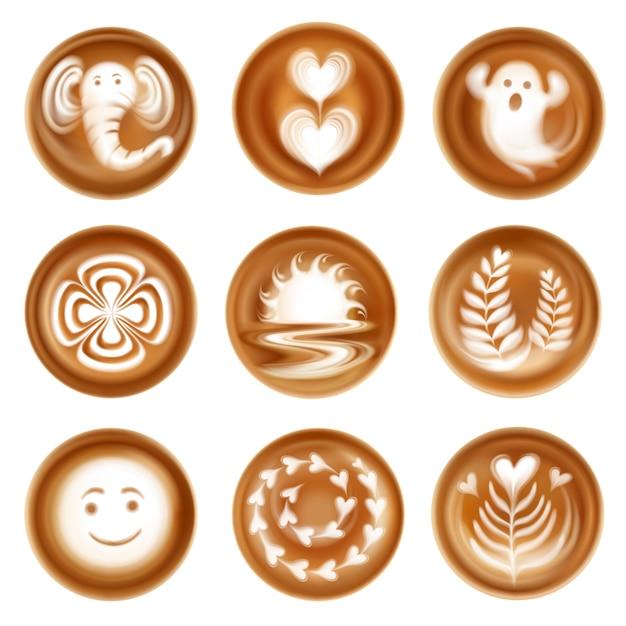 Satz realistische latte-kunstbildkompositionen von herzen und lässt geist und elefant isoliert Kostenlosen Vektoren