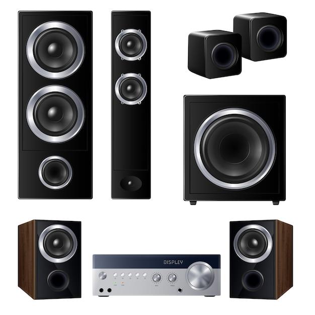Satz realistische lautsprecher verschiedener größe und zentrierte audiogerät isolierte illustration Kostenlosen Vektoren