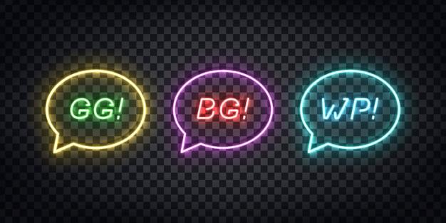 Satz realistische leuchtreklame von gg, bg, wp-logo für schablonendekoration und layoutabdeckung auf dem transparenten hintergrund. konzept des gaming-slang. Premium Vektoren