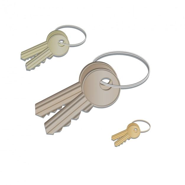 Satz realistische schlüssel, die am ring lokalisiert auf weiß hängen Premium Vektoren