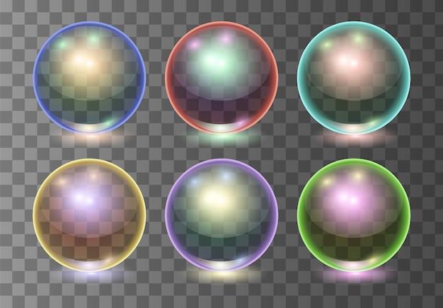 Satz realistische transparente mehrfarbenglaskugeln des vektors, glanzbereiche oder suppenblasen. abbildung 3d. Premium Vektoren