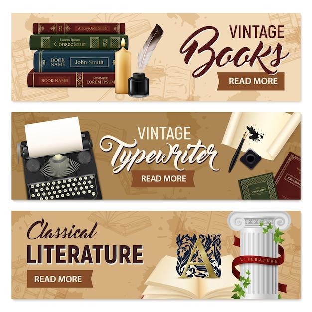 Satz realistische weinlesebücher der horizontalen fahnen und klassische literatur der schreibmaschine auf der beige lokalisiert Kostenlosen Vektoren