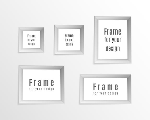Satz realistische weinleserahmen der weinlese lokalisiert auf transparentem hintergrund. perfekt für ihre präsentationen. fotorahmen layout design. Premium Vektoren