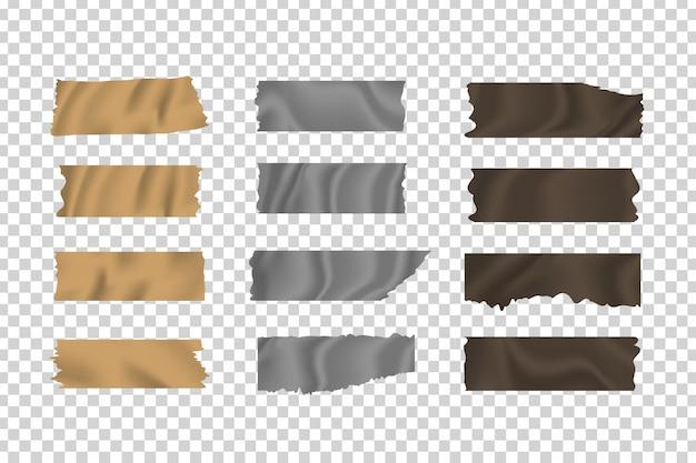 Satz realistischer klebebänder aus klebeband auf dem transparenten hintergrund zur dekoration und abdeckung. Premium Vektoren