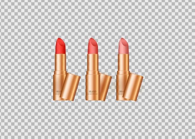 Satz realistischer lippenstift lokalisiert Premium Vektoren