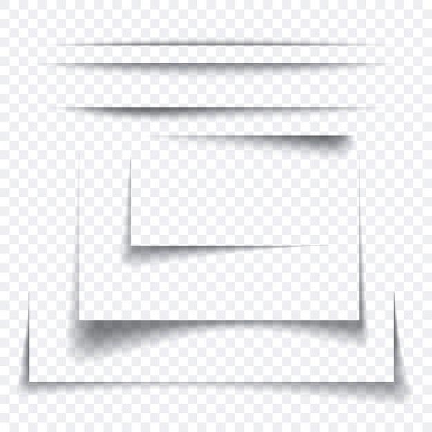 Satz realistischer papierblattschatteneffekt, transparentes grafisches element Premium Vektoren
