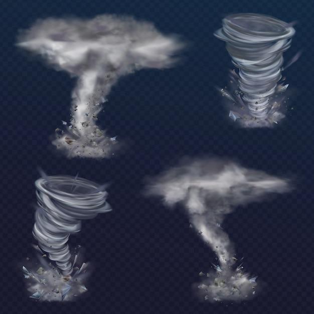 Satz realistischer tornado-wirbel. verschiedene arten von wirbeln mit wolken und fliegenden scherben Kostenlosen Vektoren