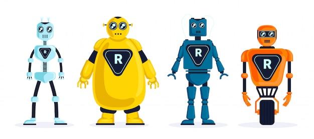 Satz roboter Premium Vektoren