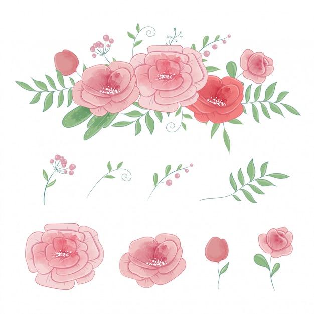 Satz rosen und blumensträuße, aquarellvektor Premium Vektoren