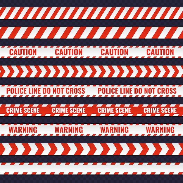 Satz rote und weiße nahtlose polizeizeilen Premium Vektoren