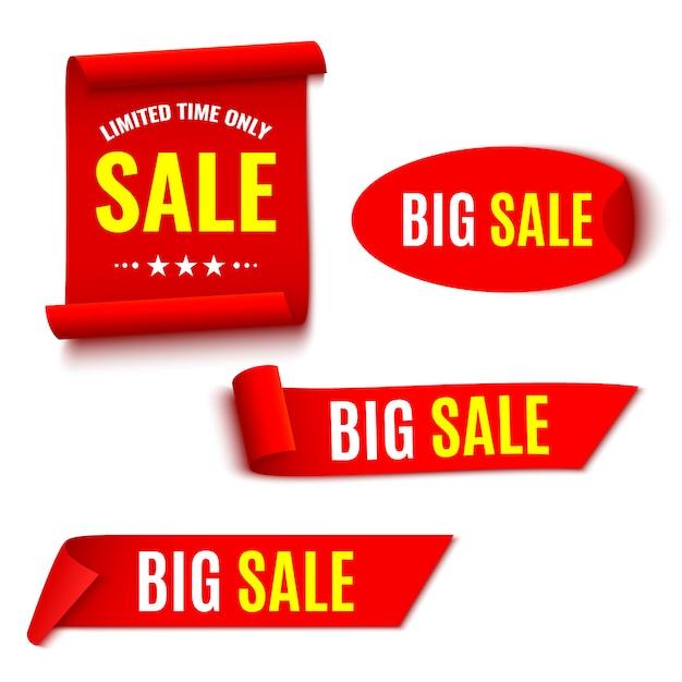 Satz rote verkaufsfahnen. bänder und aufkleber. papierrollen. illustration. Premium Vektoren