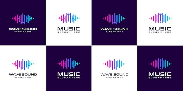 Satz sammelimpuls musik-equalizer-logo. Premium Vektoren