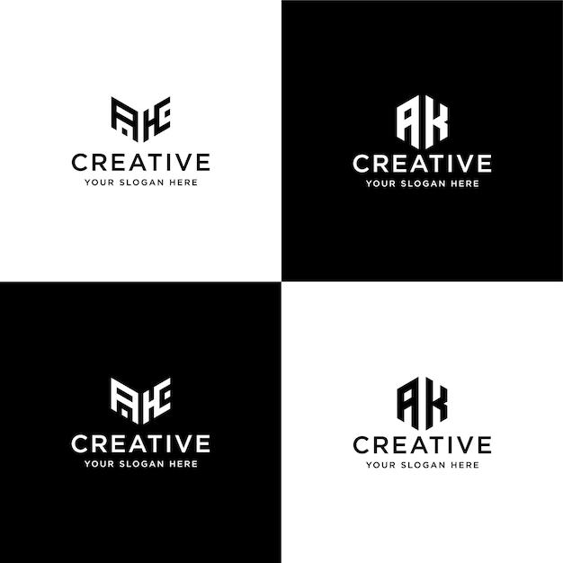 Satz sammlung initialen ak logo design-vorlage Premium Vektoren