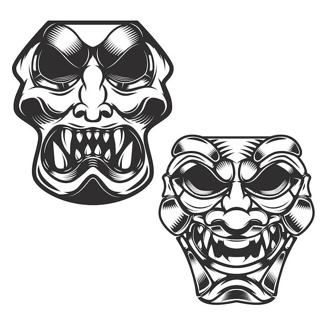 Satz samurai-masken. elemente für, etikett, zeichen. illustration. Premium Vektoren