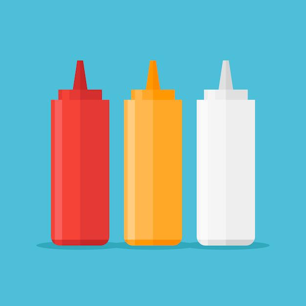 Satz saucenflaschen isoliert. ketchup, senf und mayonnaise illustration. Premium Vektoren