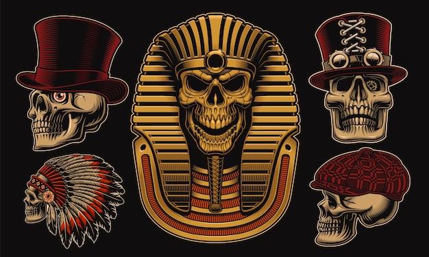 Satz schädel mit verschiedenen charakteren wie einem ägyptischen pharao Premium Vektoren