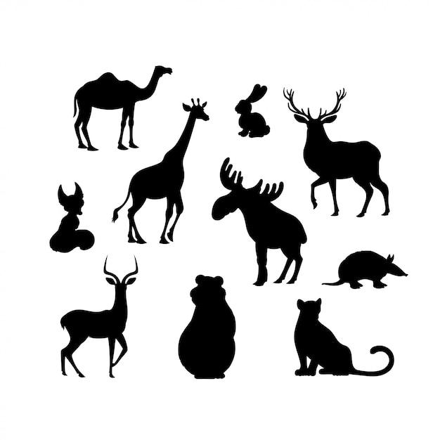 Satz schattenbilder des karikaturtiers. kamel, fuchs, jaguar, elch, bär, gürteltier, hase, hirsch, impala, giraffe Premium Vektoren