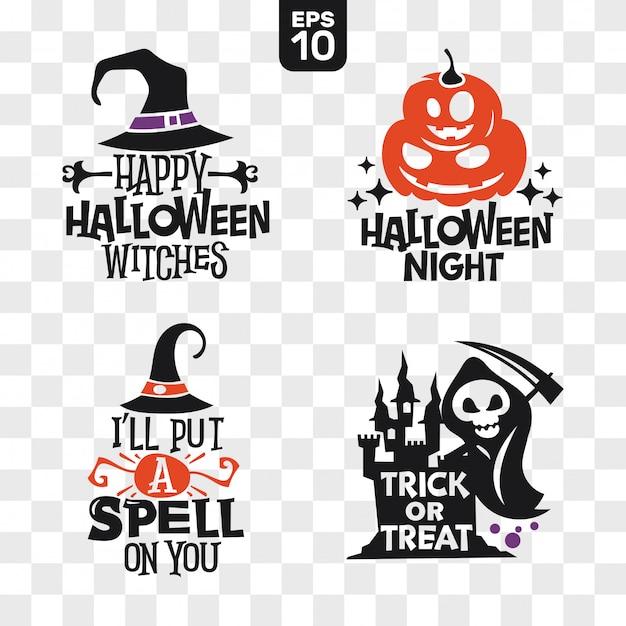 Satz schattenbilder halloween-ikonen mit zitat für parteidekoration und ausschnittaufkleber Premium Vektoren