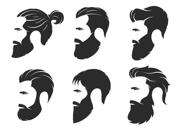 Satz schattenbilder von bärtige männer, hippie-art. friseur Premium Vektoren