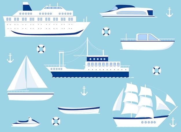 Satz schiffe lokalisiert auf blauem hintergrund. Premium Vektoren
