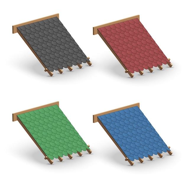 Satz schindeln dachabdeckung auf dach. elementkonzept für hochbau und reparatur. Premium Vektoren