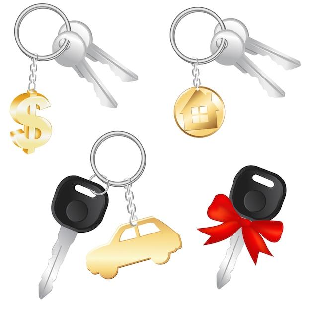 Satz schlüssel mit charme in form von dollar, auto und haus, auf weißem hintergrund, illustration Premium Vektoren