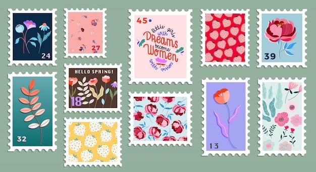 Satz schöne handgezeichnete briefmarken. vielzahl moderner briefmarken s. blumenpostmarken. konzeptzeichnung für post und post. Premium Vektoren