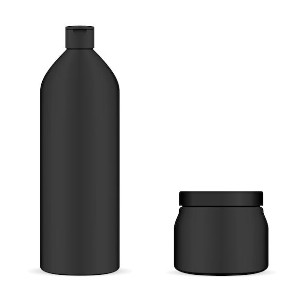 Satz schwarze kosmetische verpackung. flasche und glas. Premium Vektoren