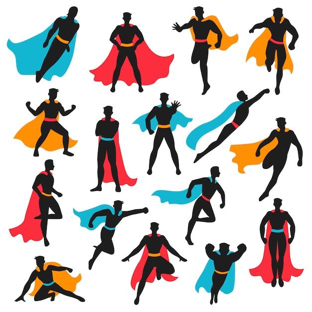 Satz schwarze superheld-silhouetten Kostenlosen Vektoren