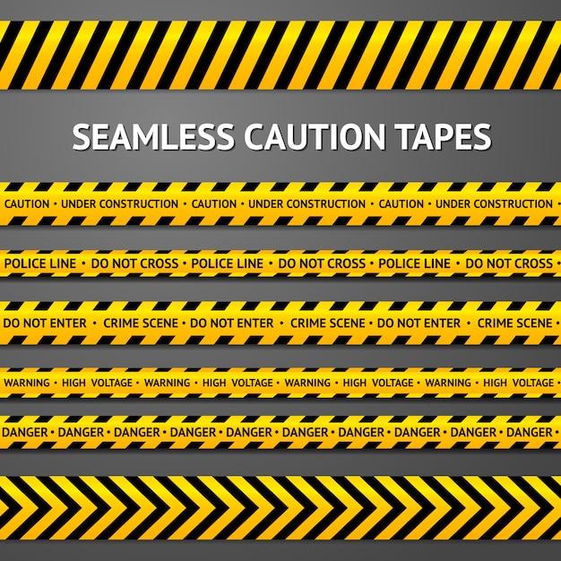 Satz schwarze und gelbe nahtlose warnbänder mit verschiedenen zeichen. polizeilinie, tatort, hochspannung, nicht überqueren, im bau etc. Premium Vektoren