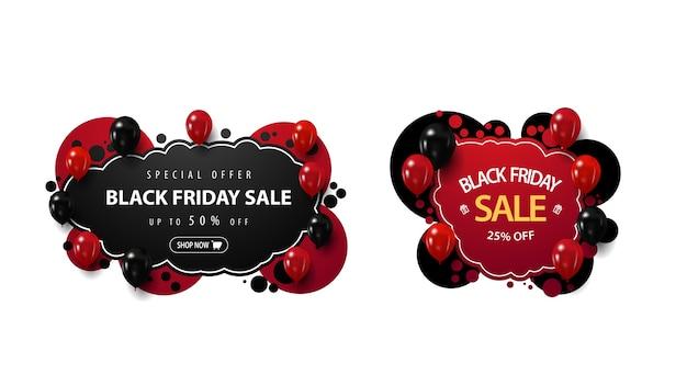 Satz schwarzer freitag-verkaufsrabattfahnen im graffiti-stil mit roten und schwarzen luftballons lokalisiert auf weißem hintergrund Premium Vektoren
