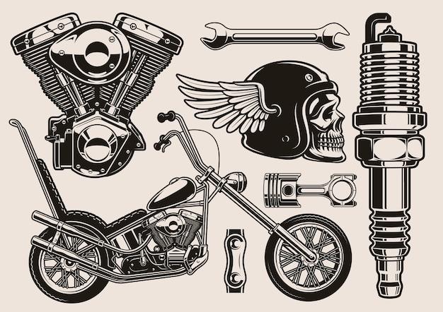 Satz schwarzweiss-illustration für bikerthema Premium Vektoren