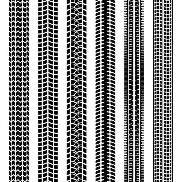 Satz schwarzweiss-reifenspuren oder -abdrücke, die durch die laufflächen auf den reifen der geraden nahtlosen vektormuster des fahrzeugs oder der maschine in schmutzschlamm oder schnee zurückgelassen wurden Kostenlosen Vektoren