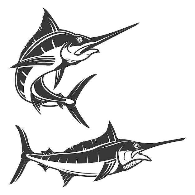 Satz schwertfischillustration auf weißem hintergrund. elemente für logo, etikett, emblem, zeichen, markenzeichen. Premium Vektoren