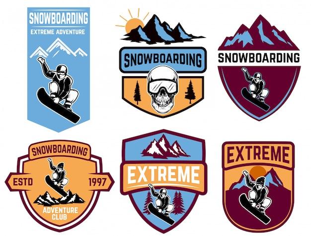 Satz snowboard-embleme. element für logo, etikett, emblem, zeichen. illustration Premium Vektoren
